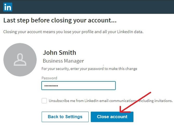 delete account on LinkedIn